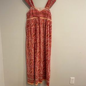Anokhi hand block printed cotton maxi dress small